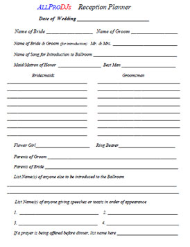 Wedding Planner Forms Pittsburgh S Party Dj And Wedding